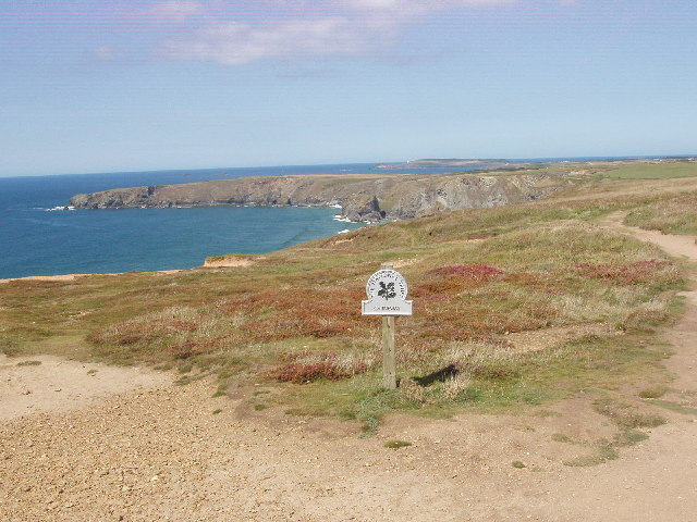 National Trust sign for Carnewas, by Bedruthan Steps