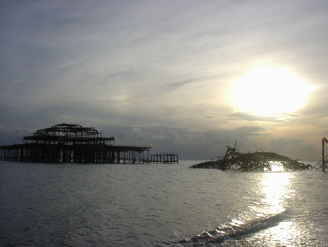 The Brighton West Pier at sunset.