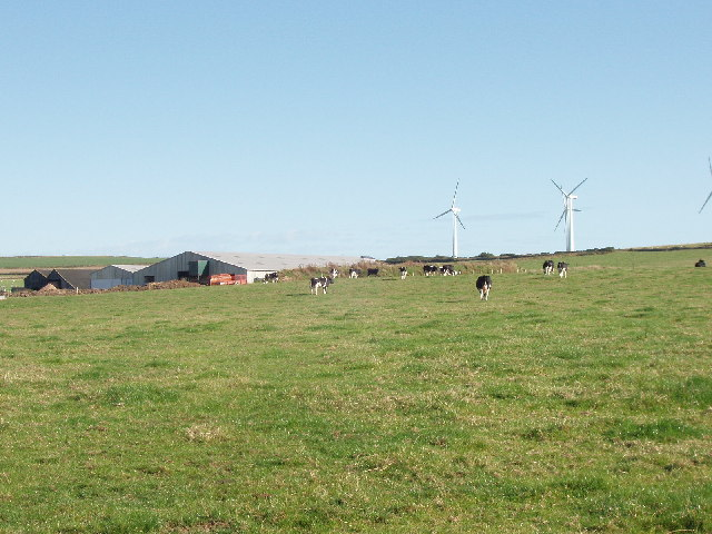 Little Trewinnick Farm, St Eval, with wind farm