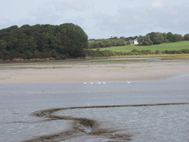 Camel estuary and mudflats with view to Dinham
