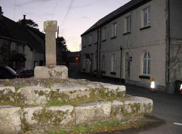 St Ewe Cross  and St Ewe at dusk