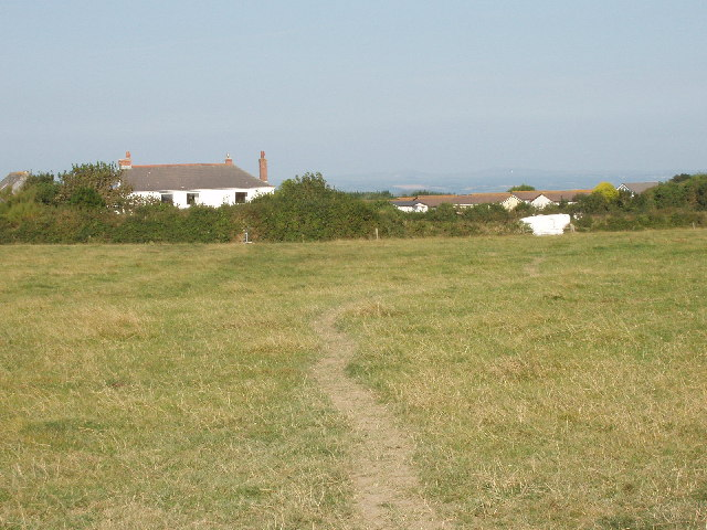 Footpath across pasture  at Tregolds