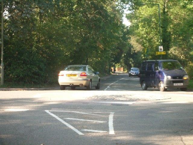 Mini-roundabout in Fairmile Lane