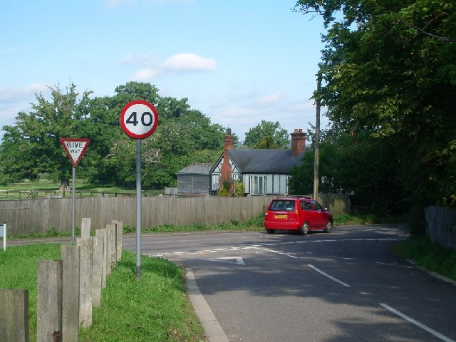 Junction of Cobham Park Road (foreground) and Downside Road
