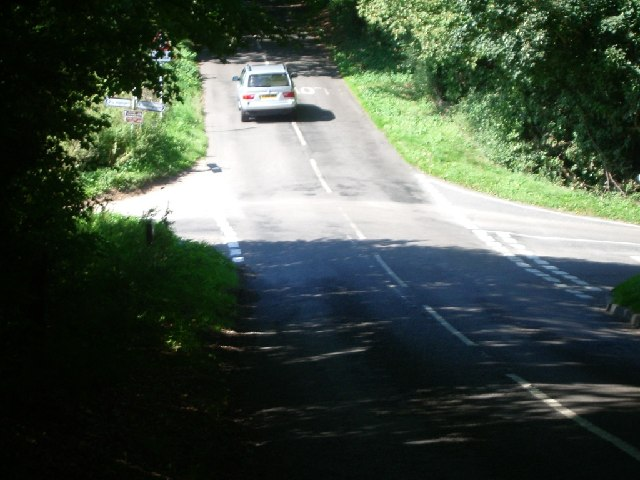 Junction of Ranmore Common Road with White Down Road (left) and Critten Lane (right)