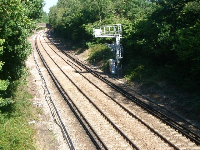 Railway line east of Bookham station