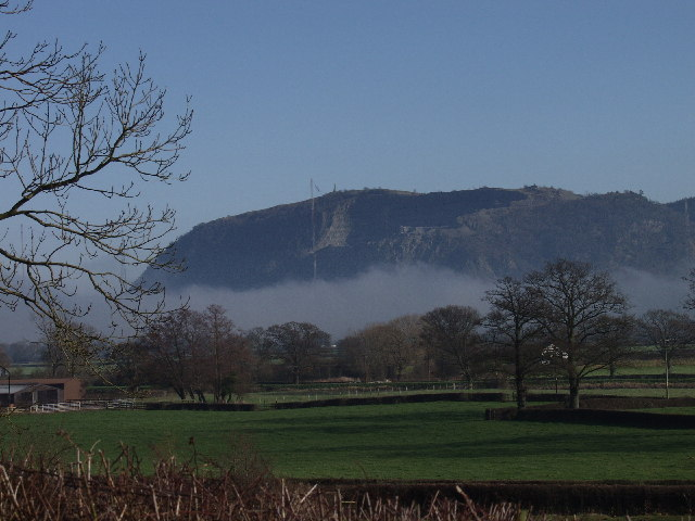 Breidden Hill surrounded in mist