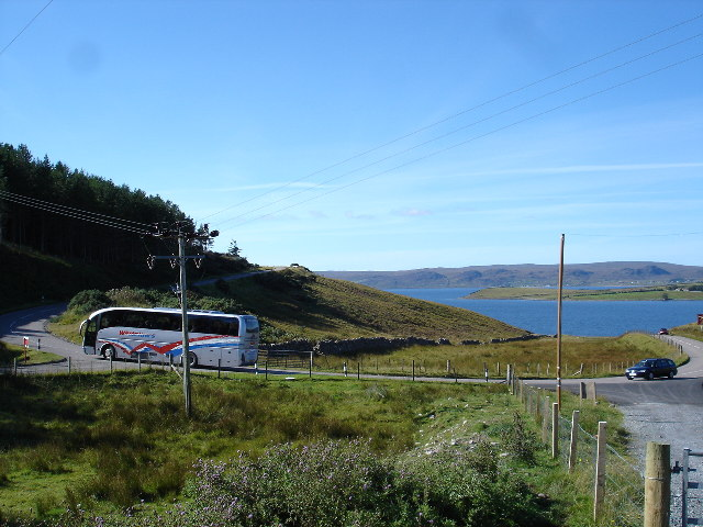 Coach on the hairpin above Drumchork