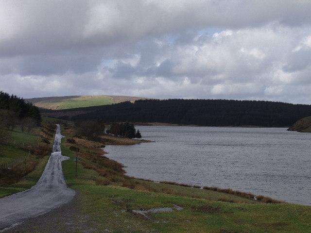 Small road on the western side of Llyn Clywedog