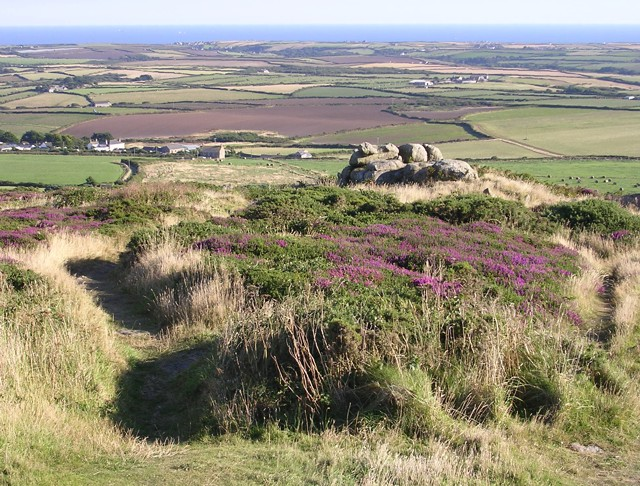 View south from Carn Brea beacon, West Penwith