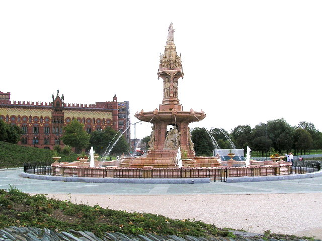 The restored Doulton Fountain, Glasgow Green with Templeton's Carpet Factory in the background
