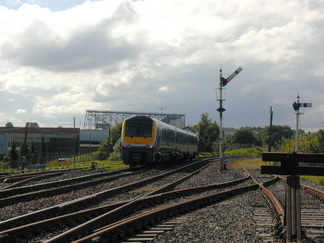 Railway train leaving Cosford Station