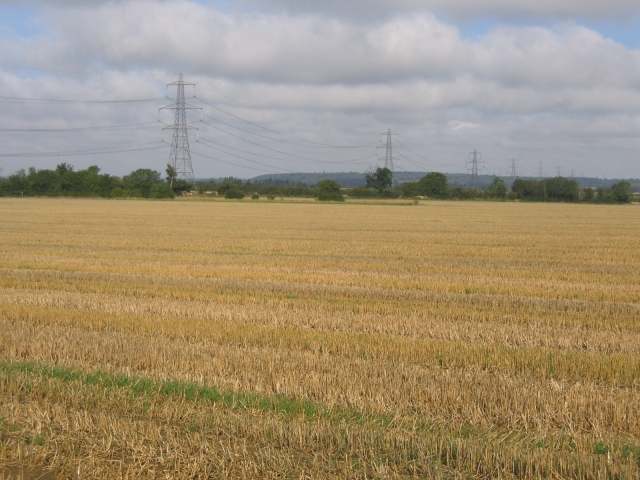 Pylons and farmland east of Biggleswade, Beds