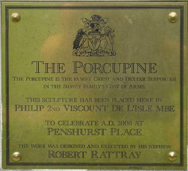 Plaque on The Porcupine Statue, Penshurst Place, Kent