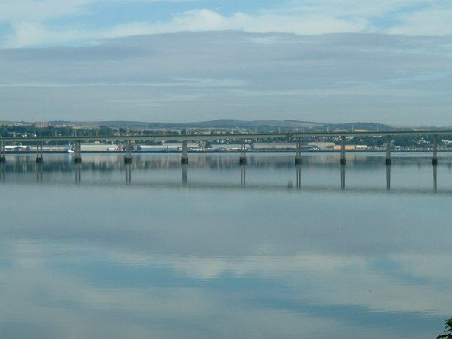 Tay Road Bridge with Dundee Harbour Area beyond