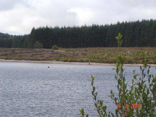 Solitary fisherman on Llyn Brenig