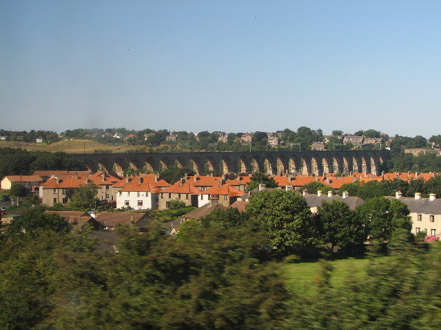 View of the Royal Border Bridge from the train heading South
