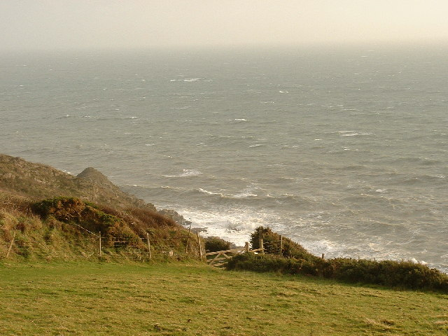View south from the Warren gate onto the coast path.