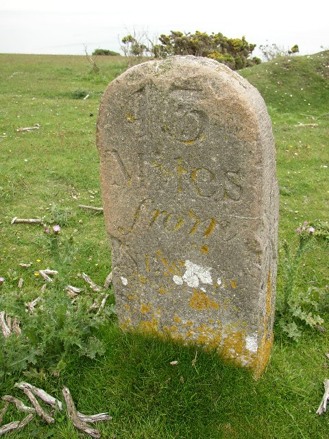 Milestone on West High Down, Totland