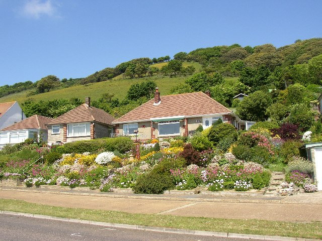 Bungalows and hillside at Ventnor