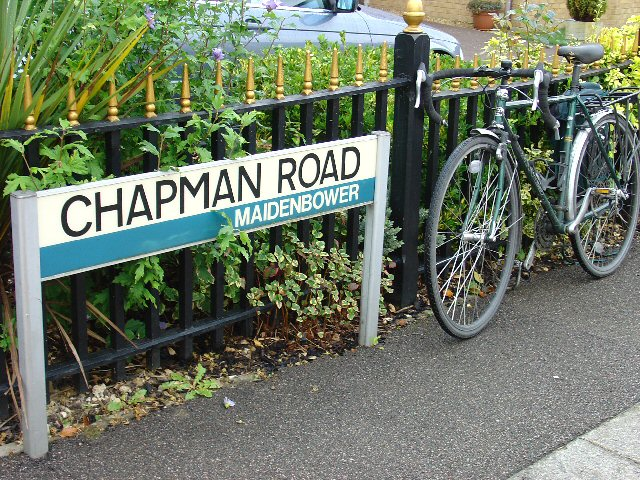 Chapman Road, Maidenbower - general pattern of street name signs in Crawley.