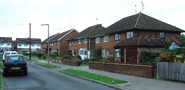 1950s Housing Estate - Rhodes Way in the Tilgate neighbourhood, Crawley, West Sussex