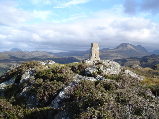 Trigpoint on the summit of Sithean Mor