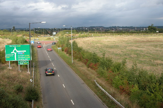 Roundabout at the western end of Worcester's southern link road