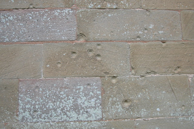 Musket shot marks on St Peters church, Powick