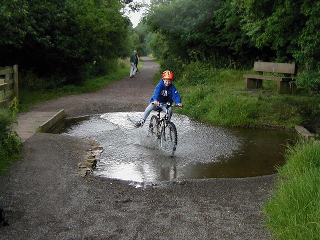Fording a stream on Brampton Valley Way
