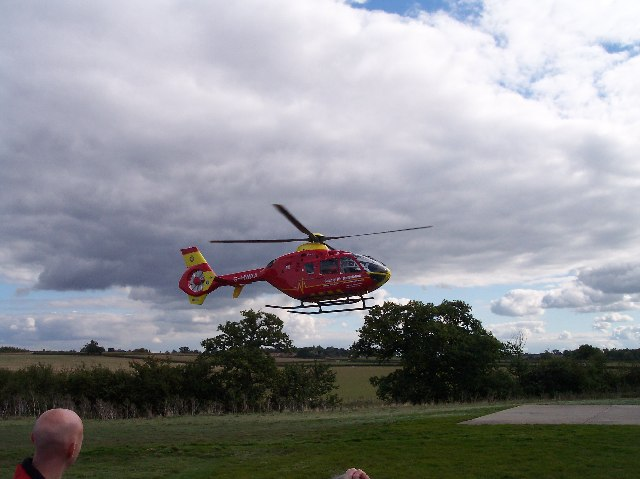 Air Ambulance taking off from Strensham Services M5