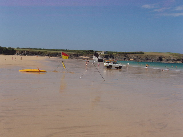 Beach lifeguards and swimming/surfing areas at Harlyn Bay