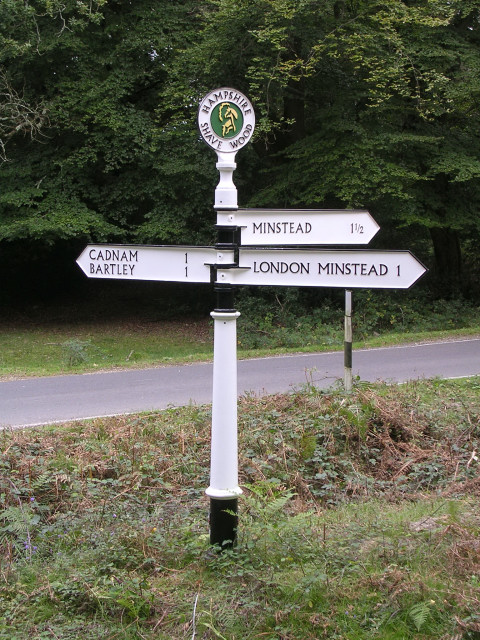 Directional signpost at Shave Wood, New Forest