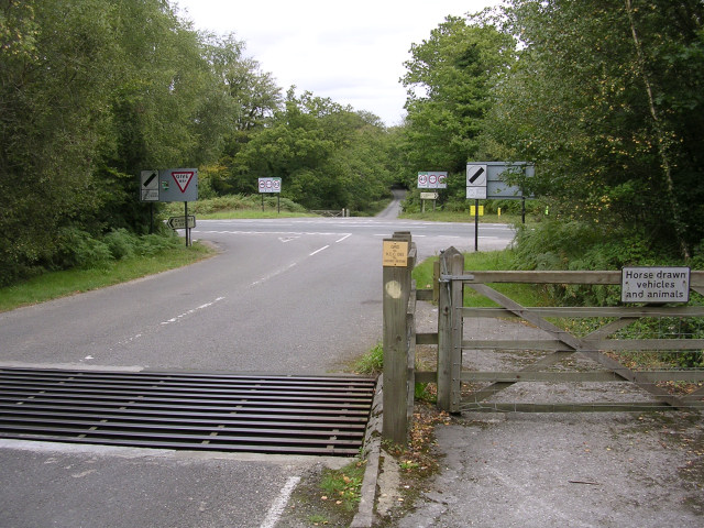 Junction of Beechwood Road with the A337 at Shave Wood, New Forest