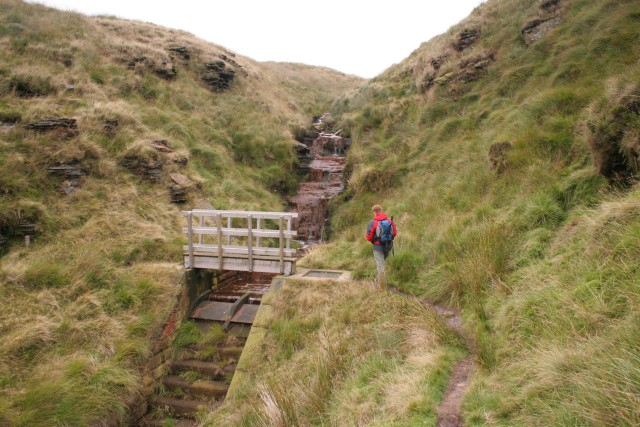 Footbridge and waterfall, Hey Sike
