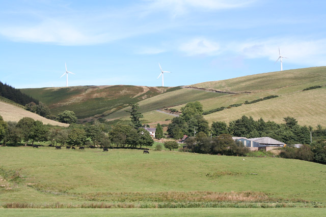 North from Rhayader: looking east to Bryn Titli wind farm