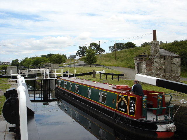 Narrow Boat in Wyndford Lock Forth and Clyde canal
