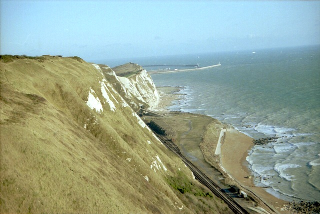 Railway sea defence/depot at Shakespeare Cliff