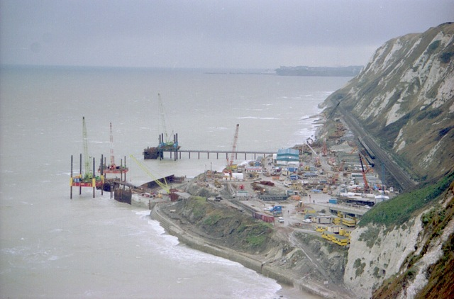 Shakespeare cliff during Channel Tunnel works (1)