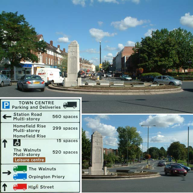 Orpington war memorial and High Street, BR6