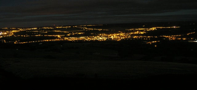Night view of Ammanford from Betws Mountain