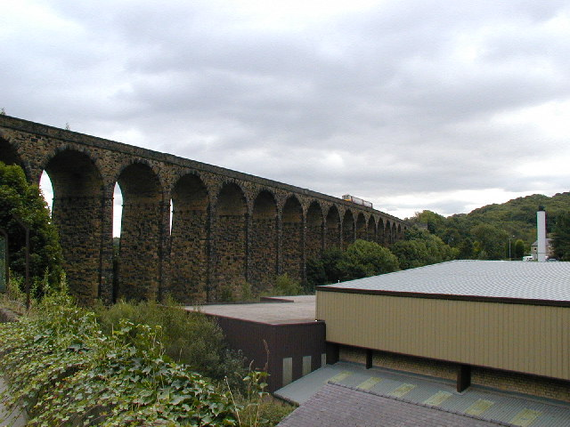 Gloomy view of Denby Dale viaduct