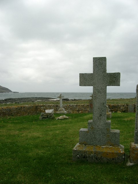 Headstones in the burial ground at Gob Buirgh (Borve Point)