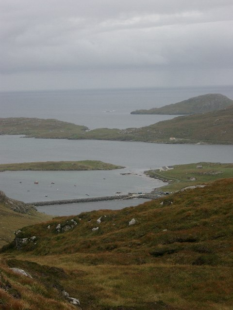 Vatersay (Bhatarsaigh) Causeway from near the summit of Beinne an Scuite