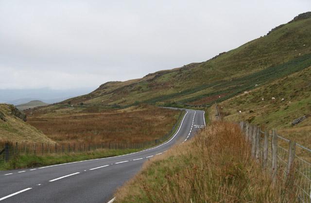 Dolgellau: the A470 road at Bwlch Oerddrws