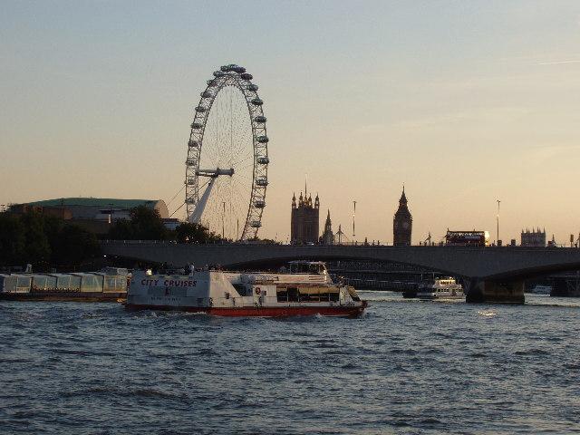 River Thames and London Eye at dusk