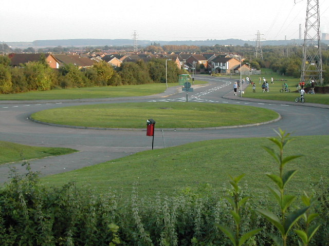 Roundabout and open space at the end of Banks Lane, Toton