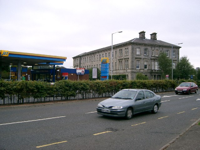 Petrol   station  and block of flats