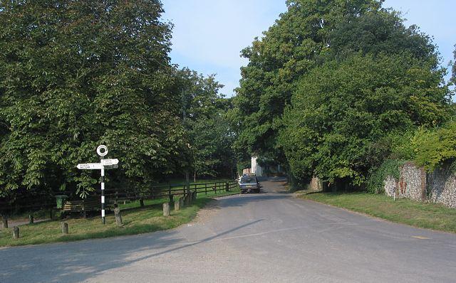 Road junction at eastern end of Upham village