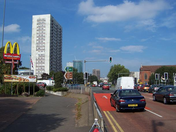 The Bristol Road arrives at the Middleway
